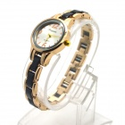 Chaoyada Fashionable Round Dial Analog Quartz Wrist Watch for Women - Golden + Black