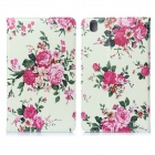 DF-004 Flower Pattern Protective PU Leather Case for Samsung Galaxy Tab Pro 8.4 T320 - Multicolor