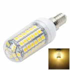 Marsing E14 6.5W 600lm 3500K 69-5050 SMD LED Warm White Light Corn Lamp - White (AC 220~240V)