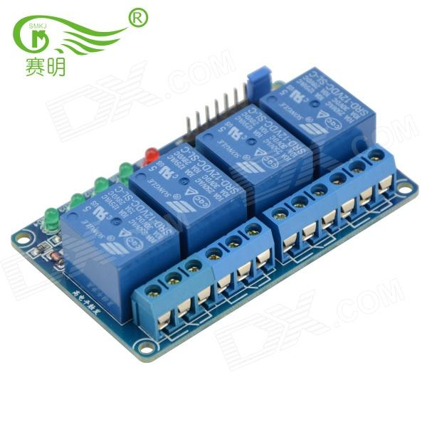 цена на SMKJ 170807 4-Way 12V High Level Trigger Relay Module w/ Optocoupler Isolation - Deep Blue