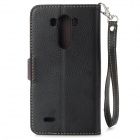 DULISIMAI Stylish Flip Open PU + TPU Case w/ Stand / Card Slots / Strap for LG G3 - Black + Brown