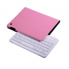 B.O.W Detachable Bluetooth V3.0 Keyboard w/ PU Leather Case for IPAD AIR - Pink + White