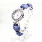 EANA WP06002V Fashionable Crystal Rhinestone Bracelet Style Analog Quartz Wristwatch - Sapphire