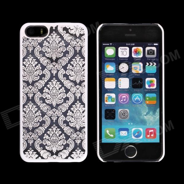 Traditional Arabesquitic Pattern Protective Plastic Back Case for IPHONE 5 - White + Transparet protective plastic back case tempered glass screen guard set for iphone 6 4 7 translucent white