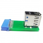 WBTUO 20pin-to-USB 3.0 Dual Superimposed Female Ports Converter Adapter - Green