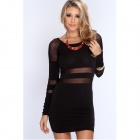 Fashionable Sexy Mesh Round Neck Long Sleeved Slim Tight Dress - Black (L)