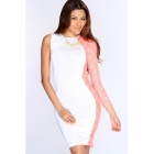 Fashionable Sexy Oblique Shoulder Slim Tight Dress - White + Pink (L)