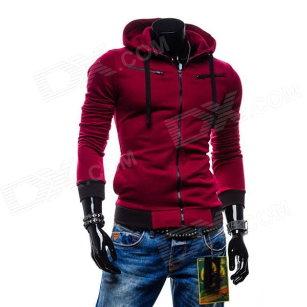 Men's Fashionable Casual Zipper Cotton Hoodie Sweater - Wine Red (L)