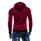 Miesten Muodikas Casual Zipper Cotton huppari Sweater-Wine Red (L)