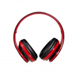 MQ88 3.5mm Jack Wired Headphone w/ Microphone + 1.2m Cable - Black + Red