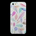 Leaves Pattern Matte Hard Back Case Cover for IPHONE 5 / 5S - White + Multicolored