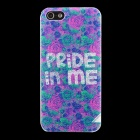 Stylish Rose Pattern Matte PC Back Case for IPHONE 5 / 5S - Purple + Green