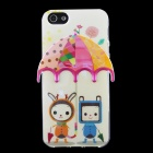 3D Umbrella + Robots Pattern Protective TPU Back Case for IPHONE 5 / 5S - Beige + Multicolored
