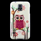 Owl Pattern Protective TPU Back Case for Samsung Galaxy S5 - Light Yellow + Multicolor