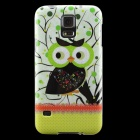 Owl Pattern Protective TPU Back Case for Samsung Galaxy S5 - Green + Black