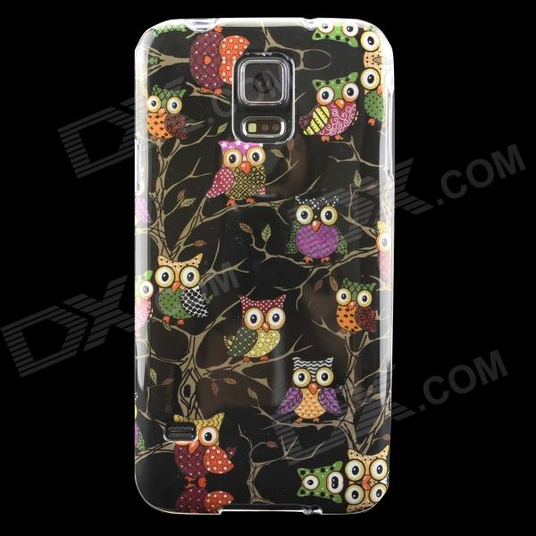 Owls Pattern Protective TPU Back Case for Samsung Galaxy S5 - Black replacement back camera circle lens for samsung galaxy s5 g900 black