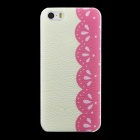 Stylish Lace Pattern Matte PC Back Case for IPHONE 5 / 5S - Pink + Beige