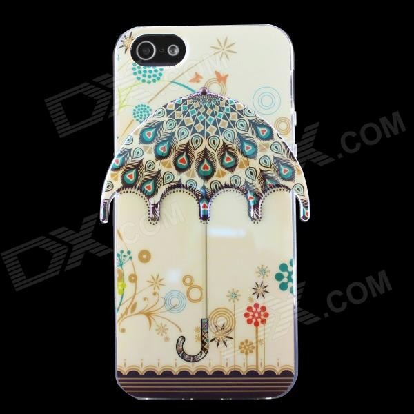 Peacock Feather 3D Umbrella Pattern Protective TPU Back Case for IPHONE 5 / 5S - Beige holes pattern protective tpu back case for iphone 6 plus 5 5 yellow