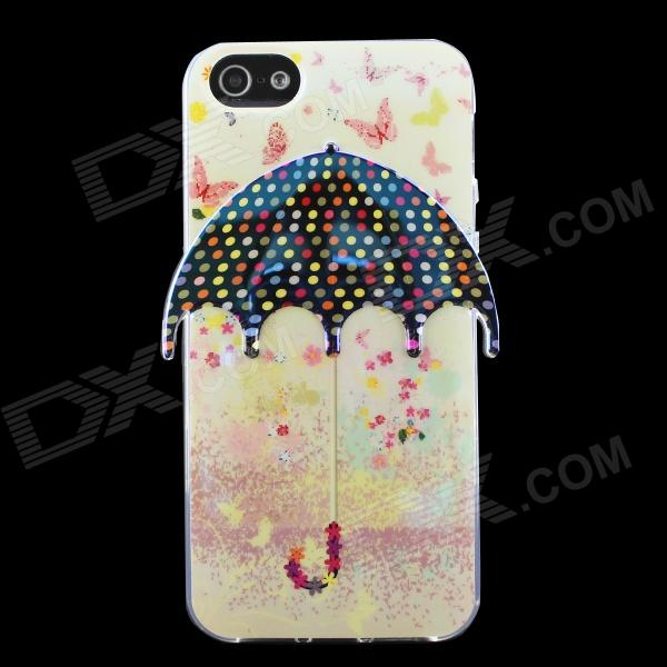 3D Umbrella Pattern Protective TPU Back Case for IPHONE 5 / 5S - Beige + Multicolored elegance tpu pc hybrid back case with kickstand for iphone 7 plus 5 5 inch red