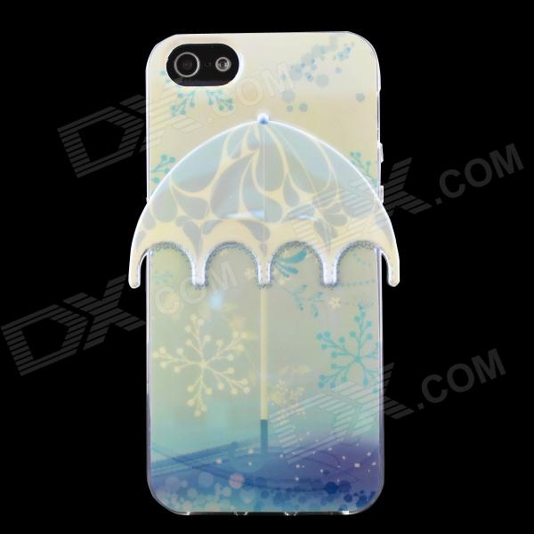3D Umbrella + Snowflake Pattern Protective TPU Back Case for IPHONE 5 / 5S - Light Blue cute girl pattern protective rhinestone decoration back case for iphone 5 light pink light blue