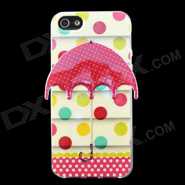 Polka Dot 3D Umbrella Pattern Protective TPU Back Case for IPHONE 5 / 5S - Beige + Red ultra thin embossed flower pattern protective tpu back case for iphone 5 5s white light pink