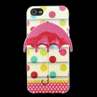 Polka Dot 3D Umbrella Pattern Protective TPU Back Case for IPHONE 5 / 5S - Beige + Red