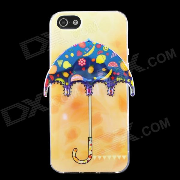 Fruit 3D Umbrella Pattern Protective TPU Back Case for IPHONE 5 / 5S - Orange + Blue + Multicolored usams perfume style tpu back case for iphone 6 4 7 brown multi color