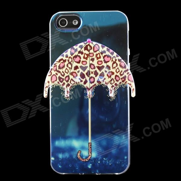 Leopard 3D Umbrella Pattern Protective TPU Back Case for IPHONE 5 / 5S - Blue + Multicolored ultra thin leopard print pattern protective tpu back case for iphone 5 5s pink