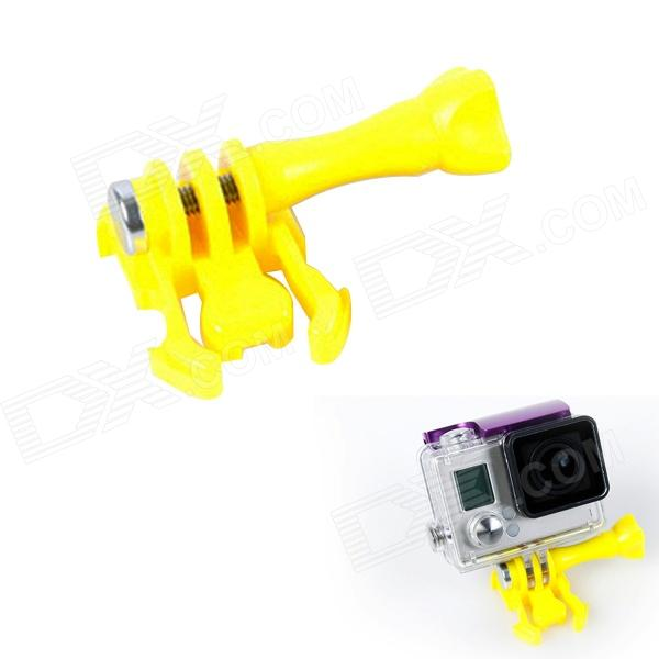 BZ J-Shape Fast Assembling Mount Buckle w/ Screw for GoPro Hero 2 / 3 / 3+ - Yellow