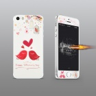 Angibabe Bird Pattern Tempered Glass Front Screen + Back Protector for IPHONE 5 / 5S - White + Red