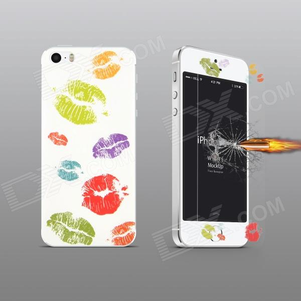 Angibabe Sexy Lips Pattern Tempered Glass Front Screen + Back Protector for IPHONE 5 / 5S - White fema for iphone 6s plus 6 plus front back 6d colorful laser tempered glass screen films colorful geometric pattern