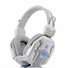 BLUELOVER D500 PC Gaming Headband Headphone w/ Microphone / Remote - White + Grey