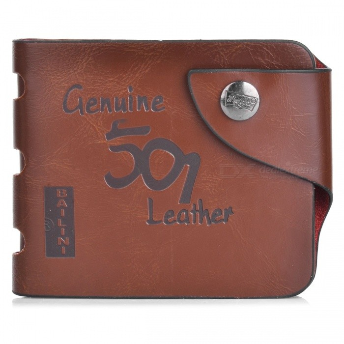 WB-WP501 Men's Split Leather Casual Short Style Wallet - Coffee
