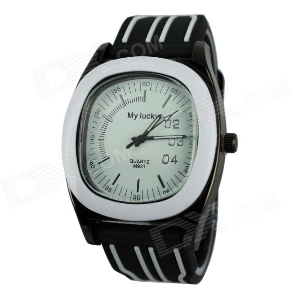MY LUCKY Men's Zinc Alloy Frame Resin Lens UV400 Sport Watch - White + Black (1 x 377)