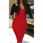 Women's Sexy Deep V-neck Long Sleeved Bodycon Dress - Black + Red (M)