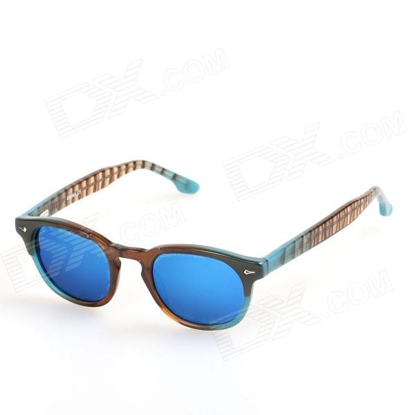 OREKA Children's Cool Cellulose Acetate Frame Blue REVO Lens UV400 Sunglasses - Brown + Blue oreka children s cool cellulose acetate frame blue revo lens uv400 sunglasses brown blue