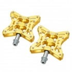 Tavta Lightweight Three Bearing Aluminum Alloy Bicycle Bike Pedals - Golden (2 PCS)