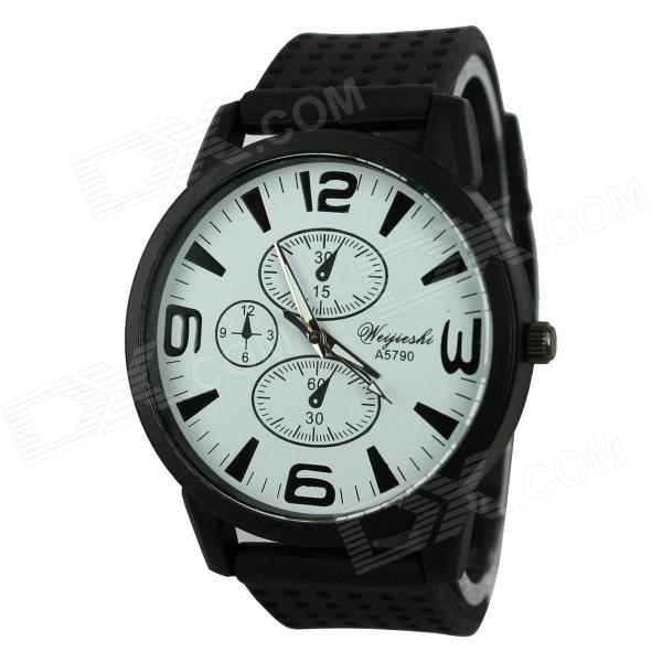 WeiJieShi Men's Silicone Band Analog Quartz Wrist Watch - Black (1 x 377)