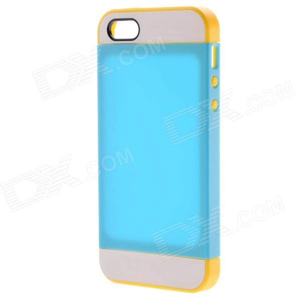 Link Dream Protective TPU + PC Back Case for IPHONE 5 / 5S - Sky Blue + Yellow holes pattern protective tpu back case for iphone 6 plus 5 5 yellow