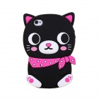 ZIQIAO Cartoon Cat Style Protective Soft Silicone Back Case for IPHONE 4 / 4S - Black + Red