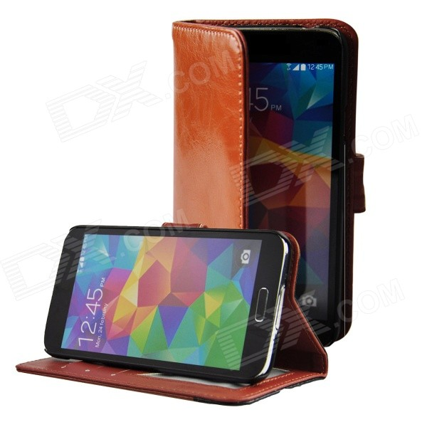Angibabe Cow Split Leather Case with Card Slot for Samsung Galaxy S5 - Brown + Black