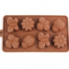 8-Compartment Patterned Silicone Ice Lattice Mold - Brown