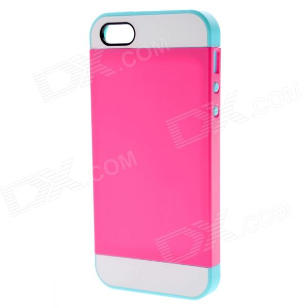 Link Dream Protective TPU + PC Back Case for IPHONE 5 / 5S - Deep Pink + Acid Blue protective pc tpu back case for iphone 5 w anti dust cover lavender purple