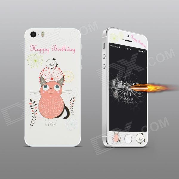 Angibabe Embossed Pink Cat Pattern Front and Back Screen Protectors Set for IPHONE 5 / 5S стоимость