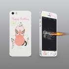 Angibabe Embossed Pink Cat Pattern Front and Back Screen Protectors Set for IPHONE 5 / 5S