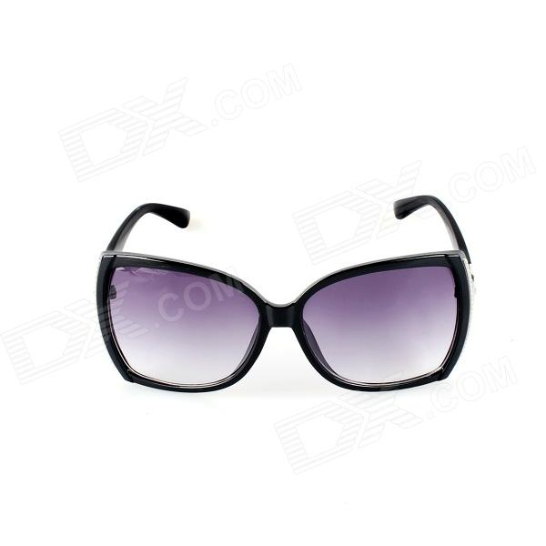 SYS0041 Women's Plastic Frame Resin Lens UV400 Protection Sunglasses - Black clip on uv400 protection resin lens attachment sunglasses small