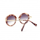 SYS0050 Women's Fashionable Zinc Alloy Frame Resin Lens UV400 Protection Sunglasses - Brown