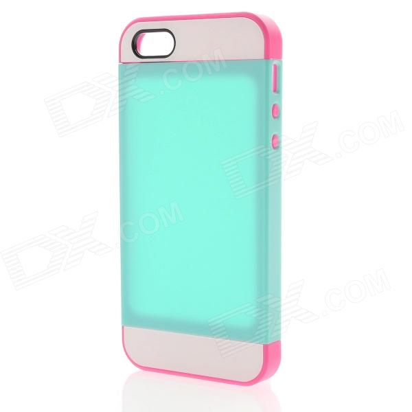 Link Dream Protective TPU + PC Back Case for IPHONE 5 / 5S - Mint + Deep Pink protective pc tpu back case for iphone 5 w anti dust cover lavender purple