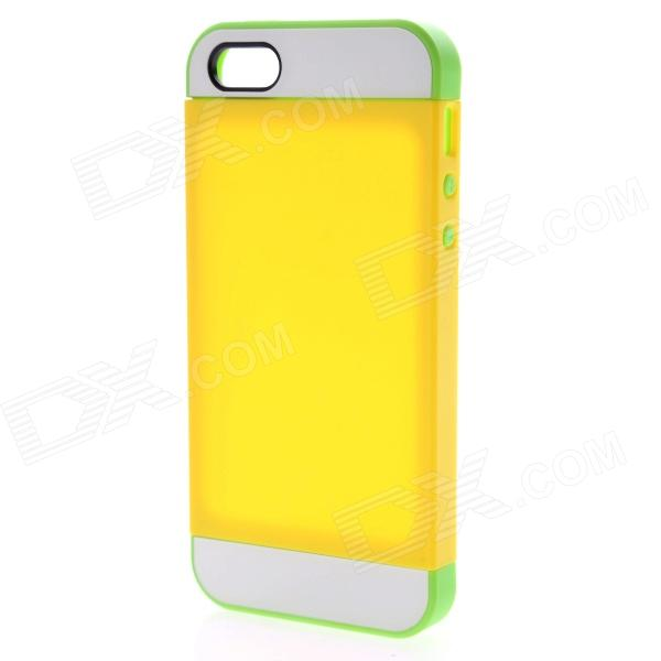 Link Dream Protective TPU + PC Back Case for IPHONE 5 / 5S - Yellow + Green protective led flash light tpu case for iphone 5 5s transparent yellow green