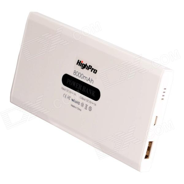HighPro 8000mAh batterie externe USB Mobile Power Power Bank w / Câble USB - Blanc